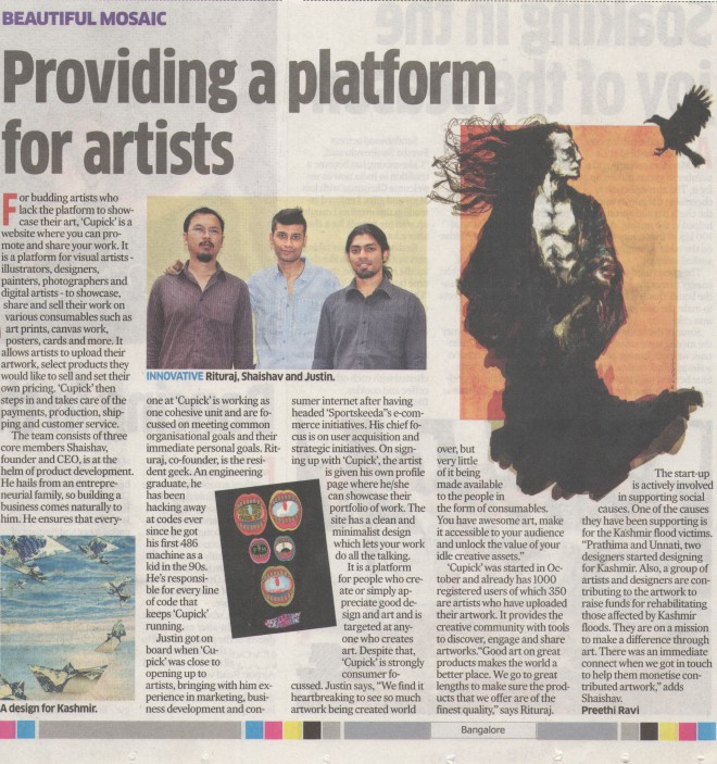Cupick featured on Deccan Herald Metroplus