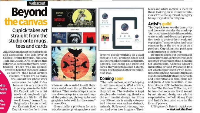 Cupick features in Bangalore edition of New Indian Express' supplement INDULGE