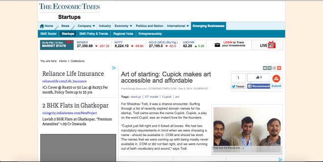 Cupick featured on the Economic Times