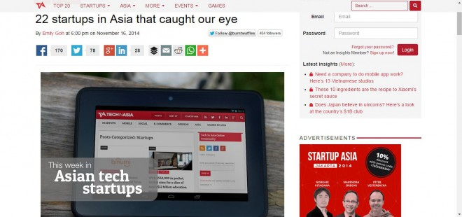 Cupick mentioned in the list of 22 startups that caught the eye at TechinAsia.com