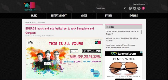 VH1 writes about Cupick co-curating art and setting up stalls in Bangalore and Gurgaon
