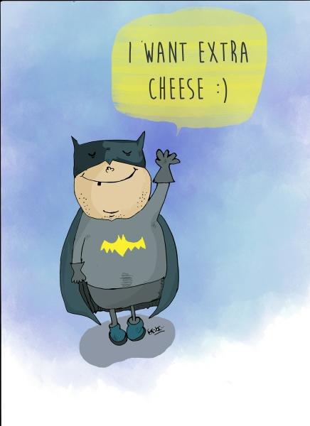 Cheesy Batman by Mounica Tata | Cupick