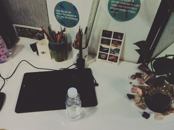 Saloni's workstation