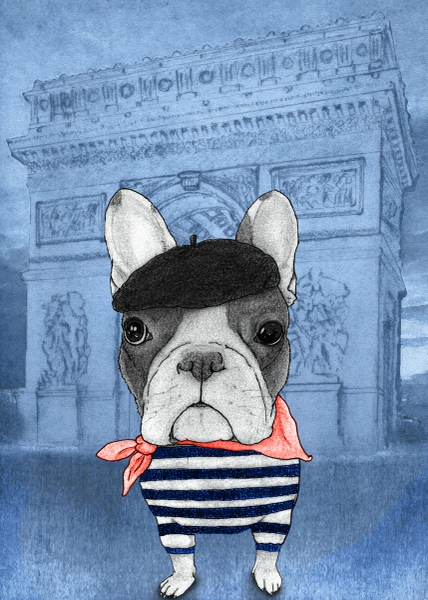 French Bulldog With Arc de Triomphe by Barruf