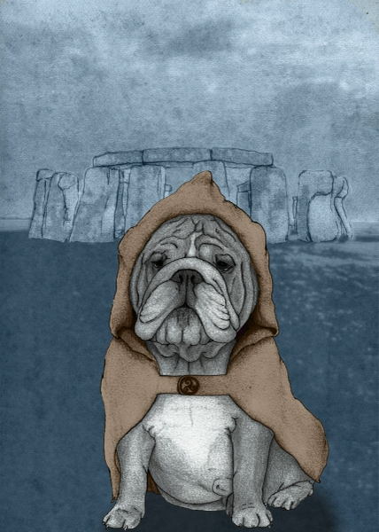 English Bulldog With Stonehenge by Barruf